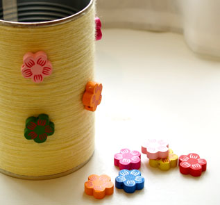Home Decor and Handicraft: Stick decorative items to decorate can