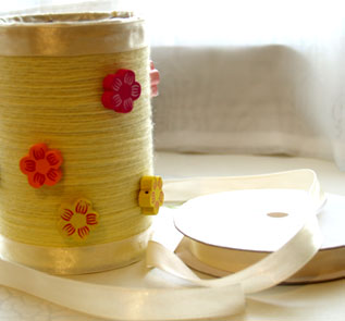 Home Decor and Handicraft: Paste ribbon to beautify top and bottom of the can
