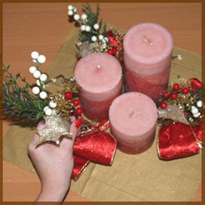 Home Decor and Handicraft: Sprigs Tugged between Candles
