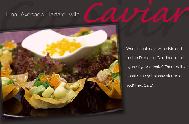Tastebuds - Tuna Avocado Tartare with Caviar on Sesame Wonton Cups